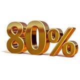 Gold 3d 80 achtzig Prozent-Rabatt-Zeichen Lizenzfreie Stockfotografie