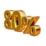 Gold 3d 80 achtzig Prozent-Rabatt-Zeichen Stockfotos
