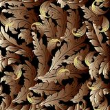 Gold 3d Baroque background. Endless ornaments. Gold 3d Baroque seamless pattern. Floral leafy background. Antique golden 3d wallpaper. Gold scroll leaves Royalty Free Stock Images