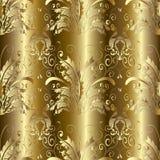 Gold 3d Baroque Damask seamless pattern. Vector floral backgroun. Baroque seamless pattern. Floral damask gold background wallpaper with 3d gold butterflies royalty free illustration
