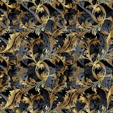 Gold 3d Baroque seamless pattern with shadows Stock Photos