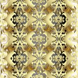 Gold 3d Baroque seamless pattern. Vector golden floral backgroun. D. Tiled surface antique ornaments. Ornate luxury vintage flowers design. Rich 3d gold pattern Royalty Free Stock Images