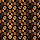 Baroque wave ornaments. Endless texture. Gold 3d Baroque vector seamless pattern. Floral vintage damask background. Abstract flowers, waves, scrolls, leaves Stock Images
