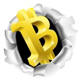 Bitcoin Breaking Through Background Concept. A gold 3D Bitcoin sign symbol icon bursting through a the background Stock Images