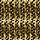 Gold 3d braided wavy lines seamless pattern. Vector geometric ab. Stract textured waves background. Ornamental design with shiny gold spiral lines, waves, modern Stock Photography