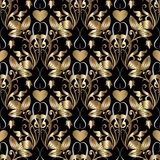 Gold 3d damask seamless pattern with flowers and love hearts. Ve. Ctor floral vintage ornate background. Luxury design for wallpapers, fabric, prints stock illustration