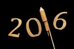 Gold 3D 2016 für neues Jahr-Konzept gegen Schwarzes Lizenzfreies Stockbild