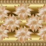 Gold 3d floral seamless border pattern. Greek border ornaments. Gold 3d floral seamless border pattern. Golden rich vintage background wallpaper illustration Royalty Free Stock Photo