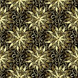 Gold 3d floral seamless pattern. Vector hand drawn vintage ornam. Ent. Ornamental patterned abstract background. Golden round ornate mandalas, doodle swirls royalty free illustration