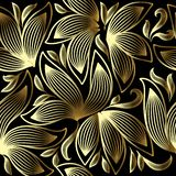 Gold 3d floral vector seamless pattern. Line art tracery hand drawn striped paisley flowers. Ornamental abstract flourish. Background. Modern repeat doodle vector illustration
