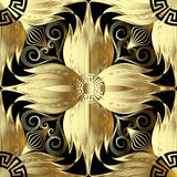 Gold 3d flowers seamless pattern. Vector abstract floral backgro. Und. Greek key meanders ornament. Golden decorative design with geometric shapes and elements Royalty Free Stock Photo