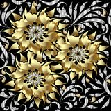 Gold 3d flowers seamless pattern. Vector floral background. 3d w. Allpaper. Vintage flourish ornaments with hand drawn golden abstract flowers in paisley and Stock Illustration