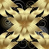 Gold 3d flowers vector seamless pattern. Modern abstract geometr. Ic background with swirls, spirals, halftone, dots. Vintage floral ornaments. Beautiful design vector illustration