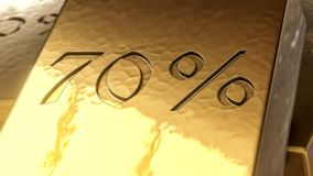 Gold 70% 3d. Illustration Royalty Free Stock Photo