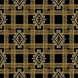 Gold 3d greek checkered geometric seamless pattern. Modern abstr. Act vector ancient background wallpaper. Tribal check textured meanders ornament with tiled Stock Photo