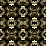 Gold 3d greek key meander seamless pattern. Ornate geometric patterned background. Abstract shapes, mandalas, circles, spiral, swirls, zigzag. Vintage design Stock Photos
