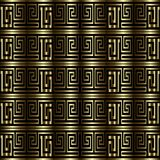 Gold 3d greek key meanders vector seamless pattern. Textured dra. Pery surface background. Geometric abstract modern ornate design. Ornamental striped backdrop royalty free illustration