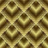 Gold 3d greek vector seamless pattern. Ornate background. Gold 3d greek vector seamless pattern. Modern abstract geometric golden background. Textured ornamental Royalty Free Stock Image