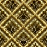 Gold 3d halftone tiled rhombus seamless pattern. Dotted vector g. Olden 3d background. Grunge surface texture with dots. Luxury wallpaper. Geometric abstract Stock Image