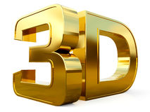 Gold 3D logo  on white background with reflection effect. Stock Photo