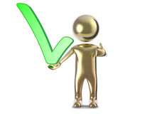 Gold 3d man with a green check mark. 3D Illustration gold 3d man with a green check mark isolated on white background Stock Images