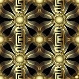 Gold 3d modern 3d greek vector seamless pattern. Abstract geomet. Ric ornamental background. Greek key meanders ornament. Repeat vintage patterned backdrop royalty free illustration