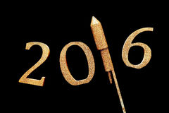 Gold 3D 2016 for New Year Concept Against Black Royalty Free Stock Image