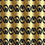 Gold 3d paisley seamless pattern. Abstract vector background wal. Lpaper with 3d golden paisley flowers. Surface texture. Modern ornate design with shadows and stock illustration