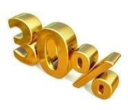 Gold 3d 30 Prozent-Rabatt-Zeichen Lizenzfreie Stockfotos