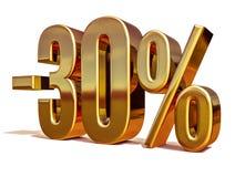 Gold 3d 30 Prozent-Rabatt-Zeichen Stockfoto