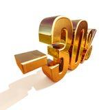 Gold 3d 30 Prozent-Rabatt-Zeichen Lizenzfreie Stockbilder