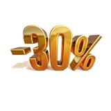 Gold 3d 30 Prozent-Rabatt-Zeichen Stockbild