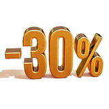 Gold 3d 30 Prozent-Rabatt-Zeichen Lizenzfreie Stockfotografie