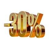 Gold 3d 30 Prozent-Rabatt-Zeichen Stockfotos