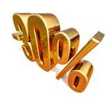 Gold 3d 30 Prozent-Rabatt-Zeichen Lizenzfreies Stockbild