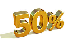 Gold 3d 50 Prozent-Zeichen Lizenzfreie Stockbilder