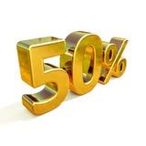 Gold 3d 50 Prozent-Zeichen Lizenzfreie Stockfotos