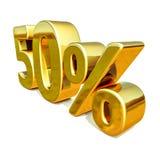 Gold 3d 50 Prozent-Zeichen Stockfotografie
