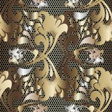 Gold 3d russian ethnic style floral lace seamless pattern. Textured grid lattice elegance background. Vintage baroque damask vector illustration