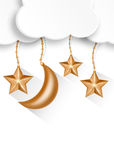 Gold 3d star and moon isolated in white background. Vector EPS10. Gold 3d star and moon isolated in white background. Vector EPS 10 Stock Photo