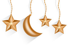 Gold 3d star and moon isolated in white background. Vector EPS10 Royalty Free Stock Photo