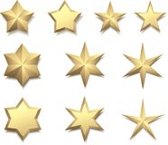 Gold 3d stars isolated on white. Royalty Free Stock Photography