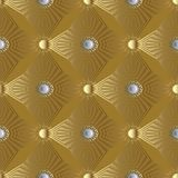 Gold 3d stars and sun seamless pattern. Greek geometric backgrou. Gold 3d stars and sun seamless pattern. Geometric golden background wallpaper  with radial Stock Photos