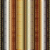 Gold 3d striped greek seamless border pattern. Striped luxury 3d wallpaper. Geometric seamless pattern border with gold 3d abstract grunge vertical stripes Royalty Free Stock Photo