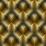 Gold 3d striped tiled rhombus seamless pattern. Vector golden 3d. Geometric background. Textured gold wallpaper. Modern surface ornament with stripes, lattice Stock Photography