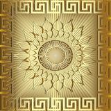Gold 3d sunny greek vector panel pattern. Textured radial striped golden background. Greek key mandala. Meanders abstract ornament, square frame. Decorative vector illustration