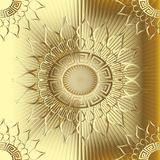 Gold 3d sunny greek vector seamless pattern. Textured radial striped golden background. Greek key mandala. Meanders abstract ornament. Decorative floral design vector illustration