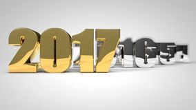 Gold 2017 3d text render. Nice gold 2017 3d text render Royalty Free Stock Photography