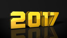Gold 2017 3d text render. Nice gold 2017 3d text render Stock Photography