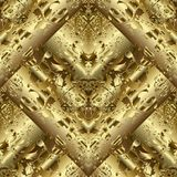 Gold 3d textured abstract seamless pattern. Vector golden draper. Y grunge background. Tiled surface ornaments. Ornate luxury design. Metallic 3d  texture for Royalty Free Stock Images